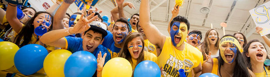 Students in blue and gold spirit apparel