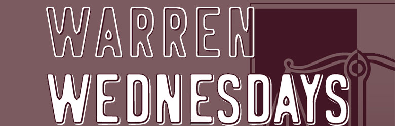 Burgundy background with white text that reads Warren Wednesdays