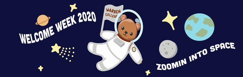 astronaut bear in space with Zoomin into Space text